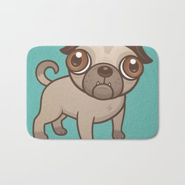 Pug Puppy Cartoon Bath Mat