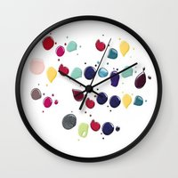 nail polish Wall Clocks featuring Colorful Nail polish by Luxe Glam Decor