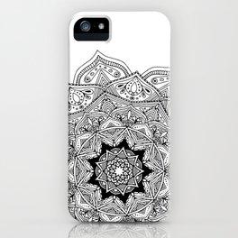 paisley black and white hippie boho mandala iPhone Case
