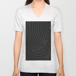 Organic Abstract 01 BLACK Unisex V-Neck