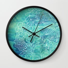 Green Abstract with Doodles Wall Clock