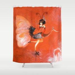 Oiseau de folie rouge Shower Curtain