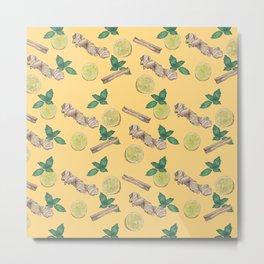 ginger lemon pattern Metal Print