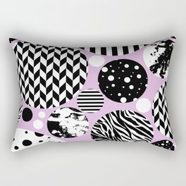Eclectic Black And White Circles On Pastel Pink Rectangular Pillow