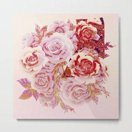 composition florale en rose Metal Print