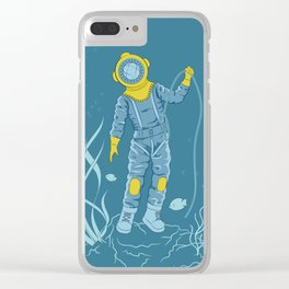 Plunger in old diving suit on the seafloor Clear iPhone Case