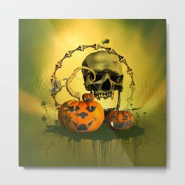 Halloween, funny pumpkins and skull Metal Print