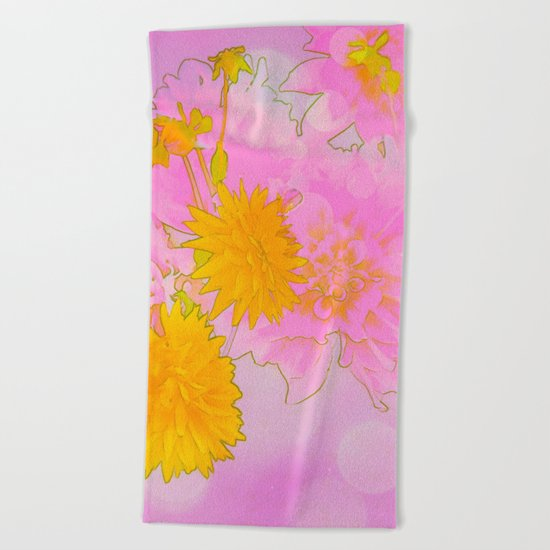 Pink & Gold Floral Beach Towel
