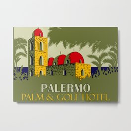 Retro Palermo Sicily hotel travel ad Metal Print