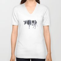 cows V-neck T-shirts featuring Cows Typography by Megan Yiu