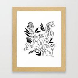 Jungle sketchbook - tiger illustration Framed Art Print