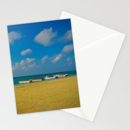 Colorful Boats Adorn the Tranquil Beach Stationery Cards