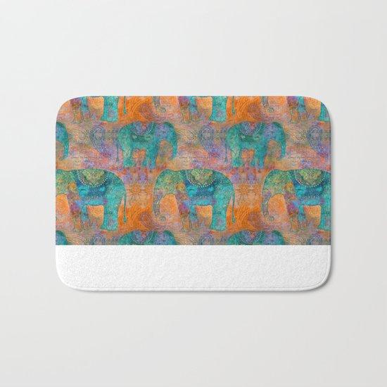 Elephant Pattern allover orange turquoise Bath Mat