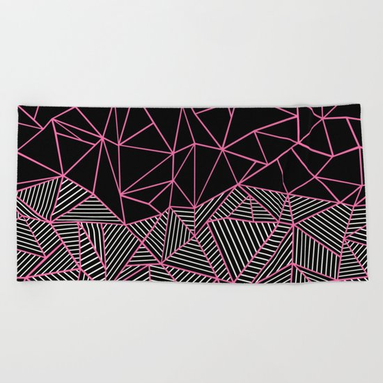 Ab Half an Half Black and Pink Beach Towel