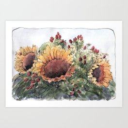Bouquet with sunflowers Art Print