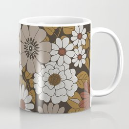 Brown, Orange, and Ivory Retro Flower Pattern Coffee Mug