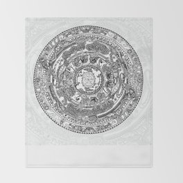 An Island Mandala - PEI, Canada - Original Colors - Black on White Throw Blanket