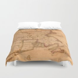 Vintage Map of New England States (1843) Duvet Cover