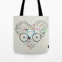 brompton Tote Bags featuring I Love My Bike by Wyatt Design