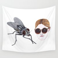 sunglasses Wall Tapestries featuring eyefly and sunglasses by Daniela Stoicanescu