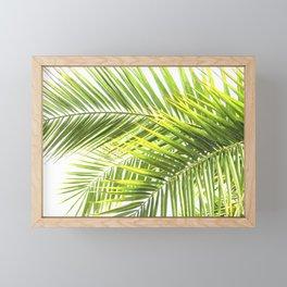 Palm leaves tropical illustration Framed Mini Art Print