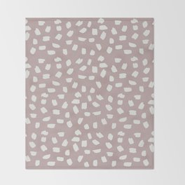 Simply Ink Splotch Lunar Gray on Clay Pink Throw Blanket