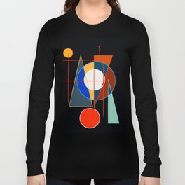 Black Geometric Abstract Composition Suprematist Long Sleeve T-shirt