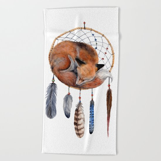 Fox Dreamcatcher Beach Towel