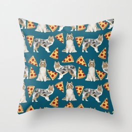 Sheltie shetland sheepdog pizza slices cheese pizzas dog breed pet friendly custom dogs Throw Pillow