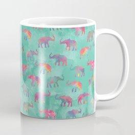 Elephants on Parade Watercolor Green Coffee Mug
