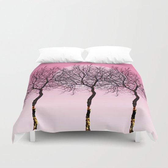 Triplet trees in pink Duvet Cover