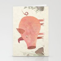 pig Stationery Cards featuring Pig by Michelle McGaughey