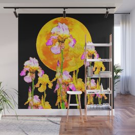 SURREAL IRIS GARDEN & RISING GOLD MOON IN BLACK SKY Wall Mural