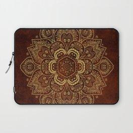 Gold Flower Mandala on Red Textured Background Laptop Sleeve