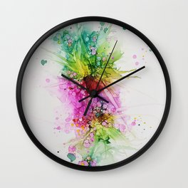 Happy Colors Abstract Flowers and Bubbles Multicolored Wall Clock