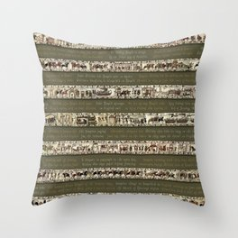 Bayeux Tapestry on Army Green - Full scenes & description Throw Pillow
