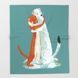 Weasel hugs Throw Blanket