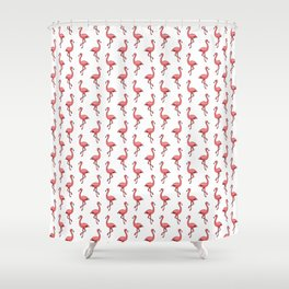 Doodle Pink Flamingos - Tropical Pattern Shower Curtain