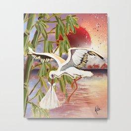 Stork and Sun Metal Print