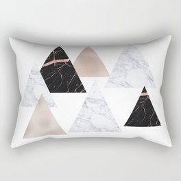Marble rose gold geometric triangles Rectangular Pillow