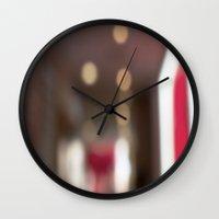 ramen Wall Clocks featuring Red Ramen by Ava Elise