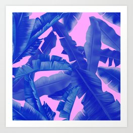 tropical banana leaves pattern,pink,blue Art Print
