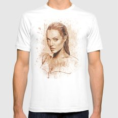 Angelina Jolie SMALL Mens Fitted Tee White
