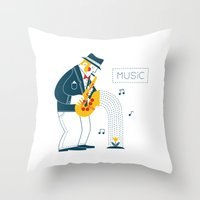 saxophone Throw Pillows featuring Man playing the saxophone by Wonderful Day