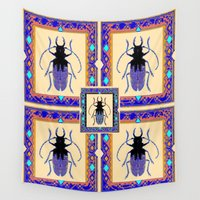 insects Wall Tapestries featuring Beetle Insects Art Design in Purple,turquoise & Cream Colors by SharlesArt