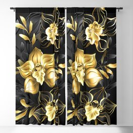 Black Background with Black Orchid Blackout Curtain