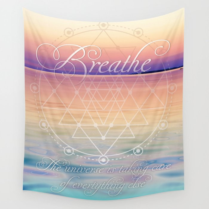 Breathe - Reminder Affirmation Mindful Quote Wall Tapestry