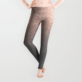 Rose gold glitter ombre grey cement concrete Leggings