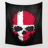 denmark Wall Tapestries featuring Flag of Denmark on a Chaotic Splatter Skull by Jeff Bartels