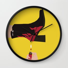 Black & Red Flame Boot on Yellow Background Wall Clock